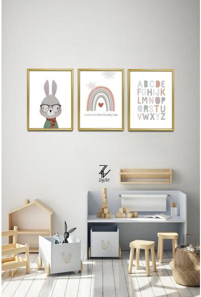"""Zeys Art Home Çocuklara Özel Harfli Tavşan Tablosu """"çerçeveli Tablo Seti"""""""