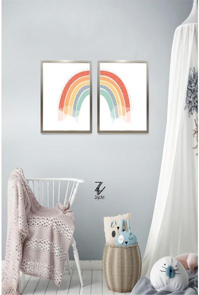 """Zeys Art Home Gökkuşağı Deseni ile Odalarınızı Süsyelebilirsiniz """"çerçeveli Tablo Seti"""""""