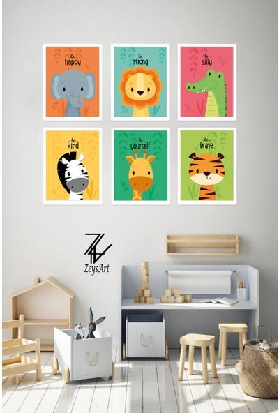 """Zeys Art Home Çocuklara Özel Sevimli Hayvanlar ve Duygu Ifadeli """"çerçeveli Tablo Seti"""""""