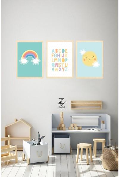 """Zeys Art Home Çocuklara Özel Harfli ve Gökyüzü Temalı """"çerçeveli Tablo Seti"""""""