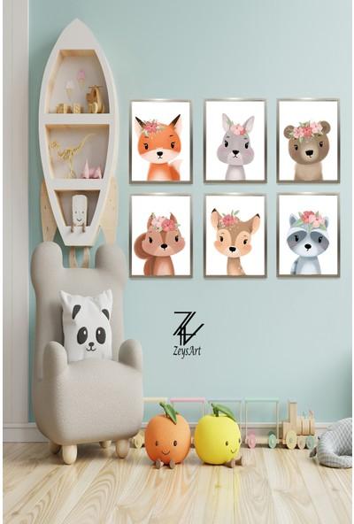 """Zeys Art Home Çiçek Taçlı Çocuklara Özel Hazırlanmış Sevimli Hayvan """"çerçeveli Tablo Seti"""""""