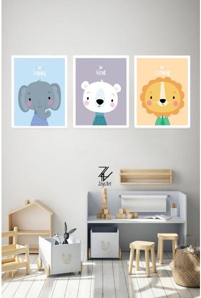 """Zeys Art Home Nazik Ol, Güçlü Ol, Mutlu Ol Temalı Çocuklara Özel """"çerçeveli Tablo Seti"""""""