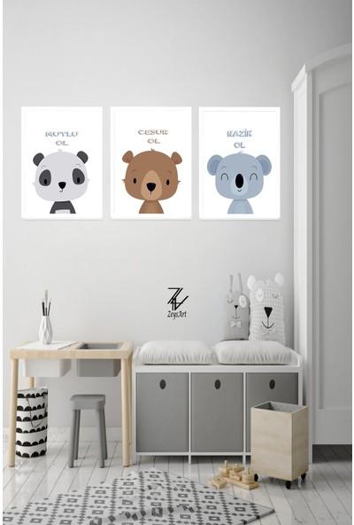 """Zeys Art Home Cesur Ol, Mutlu Ol, Nazik Ol Temalı Hayvanlı """"çerçeveli Tablo Seti"""""""
