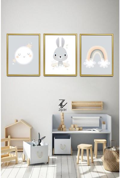 """Zeys Art Home Gökkuşağı ve Tavşan Modelli """"çerçeveli Tablo Seti"""""""