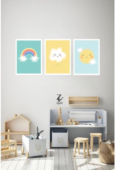 """Zeys Art Home Çocuk Odalarınızı Süsleyecek Gökyüzü Temalı """"çerçeveli Tablo Seti"""""""