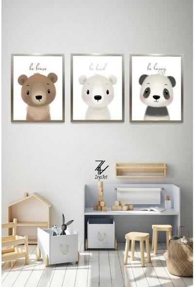 """Zeys Art Home Ayıcık Severlere Çocuklara Özel Tatlı Ayıcıklar """"çerçeveli Tablo Seti"""""""