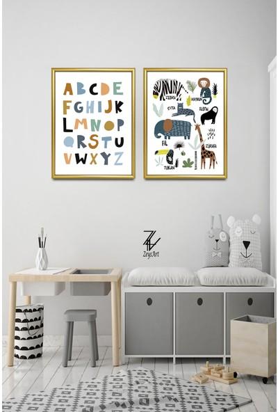 """Zeys Art Home Alfabe ve Hayvan Figürleri ile Hazırlanmış Özel Eğitici """"çerçeveli Tablo Seti"""""""