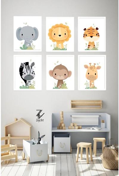 """Zeys Art Home Çocuk Odalarına Özel Yavru Hayvanlı """"çerçeveli Tablo Seti"""""""