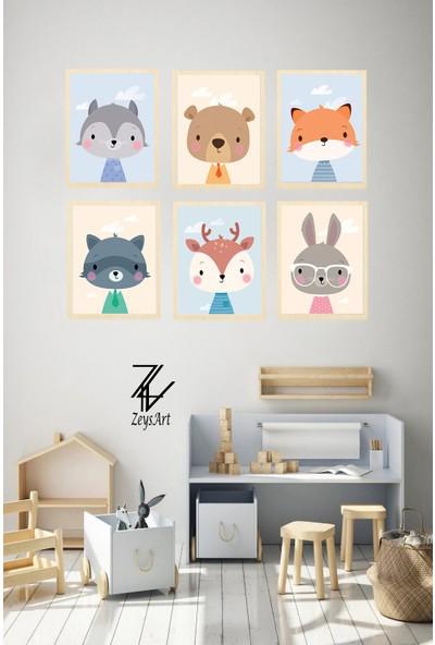 """Zeys Art Home Çocuklara Özel Sevimli Tavşan, Geyik, Ayıcık 6 Adet """"çerçeveli Tablo Seti"""""""