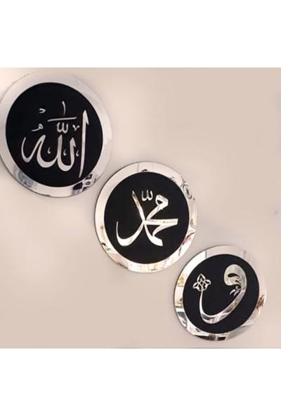 Berk Lazer Allah Muhammed (S.a.v.) Vav Gümüş Pleksi Tablo 3 Lü Set