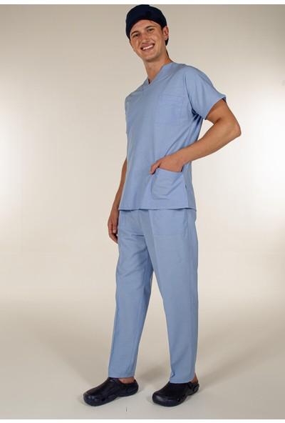 Mert Giyim Açık Mavi Üst Scrubs Terrycotton Doktor Hemşire Forma