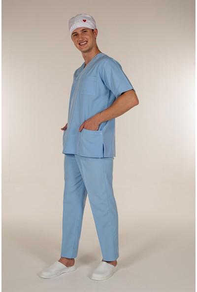 Mert Giyim Açık Mavi Doktor Hemşire Üst Erkek Cerrahi Forma