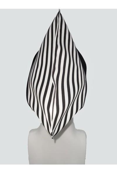 Mert Giyim Beyaz-Siyah Çizgili Aşçı ve Mutfak Şef Kep Siyah Bantlı