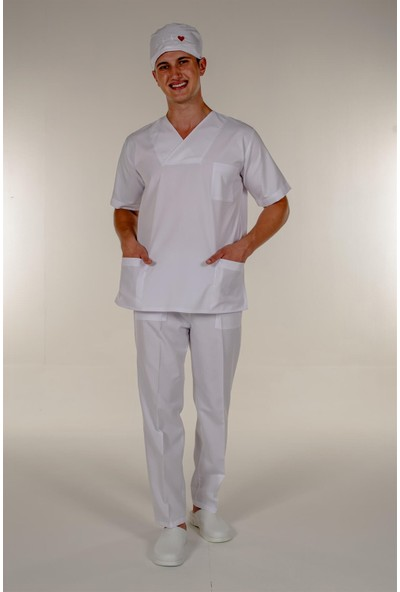 Mert Giyim Beyaz Doktor Hemşire Üst Erkek Cerrahi Forma