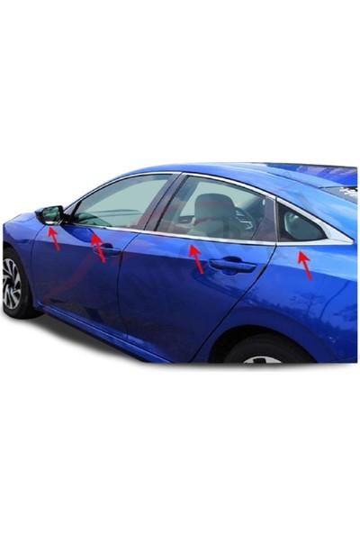 Blue Honda Civic Fc5 2016 - 2020 Cam Çıtası 8 Parça Çelik