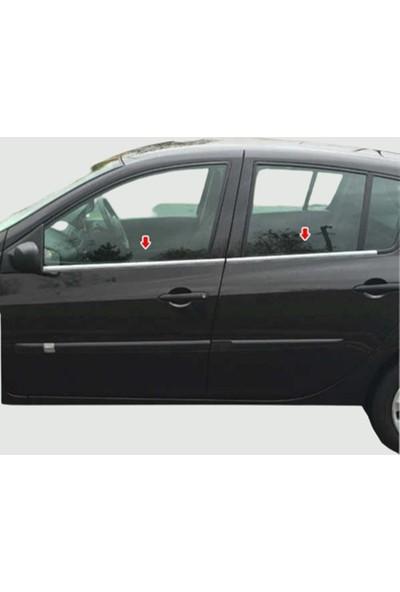 Blue Renault Clio 3 Hb Krom Cam Çıtası 2006-2011 Çelik 4 Parça