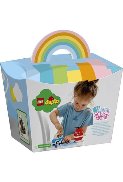 LEGO® DUPLO® İlk İtfaiye Helikopterim ve Polis Arabam 10957 - Küçük Çocuk için Eğitici ve Öğretici Oyuncak Yapım Seti (14 Parça)