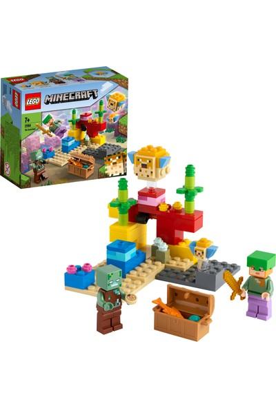 LEGO® Minecraft™ Mercan Kayalığı 21164 - Çocuklar için Alex, Boğuk ve Balığı İçeren fiziksel Minecraft Deniz Oyuncağı Yapım Seti (92 Parça)
