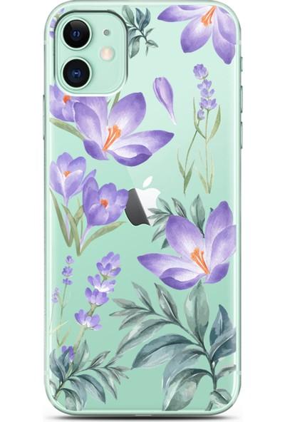 Spoyi Kış Çiçeği Tasarımlı Süper Şeffaf Silikon Telefon Kılıfı Apple iPhone 11