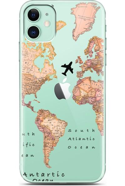 Spoyi Transparan Harita Tasarım Süper Şeffaf Silikon Telefon Kılıfı Apple iPhone 11