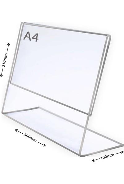 Display Malzeme Dm A4 L Tipi Yatay Masa Üstü Şefaf Pleksi Föylük