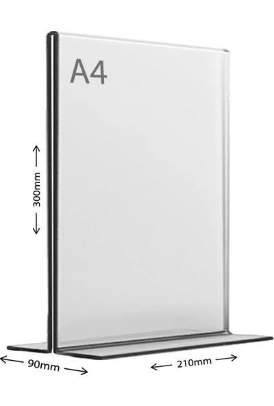 Display Malzeme Dm A4 T Tipi Dikey Masa Üstü Şefaf Pleksi Föylük