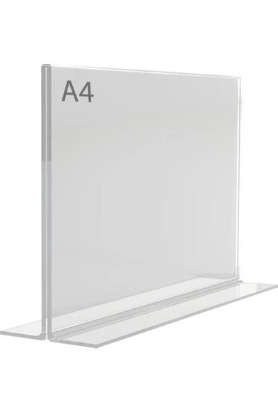 Display Malzeme Dm A4 T Tipi Yatay Masa Üstü Şefaf Pleksi Föylük