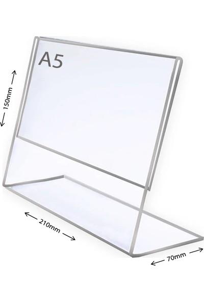 Display Malzeme Dm A5 L Tipi Yatay Masa Üstü Şefaf Pleksi Föylük