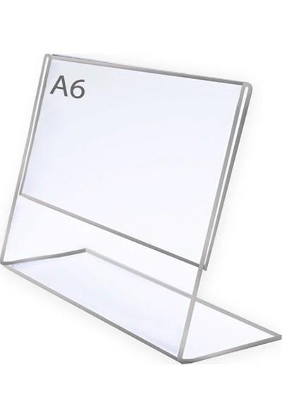 Display Malzeme Dm A6 L Tipi Yatay Masa Üstü Şefaf Pleksi Föylük
