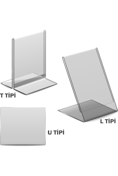 Display Malzeme Dm A6 U Tipi Dikey Masa Üstü Şefaf Pleksi Föylük