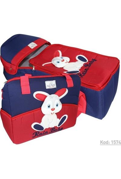 Rain Baby Kabartma Tavşanlı Kırmızı Bebek Taşıma Seti K1574