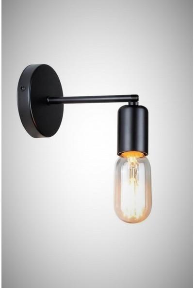 Smartech Siyah Rustik Dekoratif Tekli Duvar Lamba Aplik