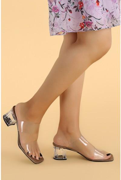 Ayakland 6470-06 Cilt Şeffaf 7 cm Topuk Kadın Sandalet Taba