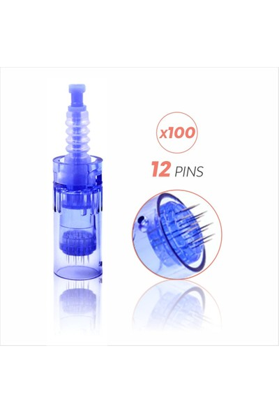 Ekai Dermapen Iğnesi - Mavi 12 Iğneli - 100 Adet Dr.pen Ultıma A6, A1 Cihazlara Uyumlu