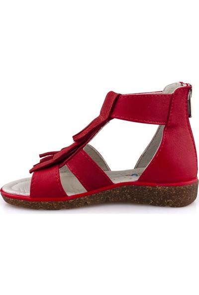 Cici Bebe Kırmızı Deri Kız Çocuk Sandalet 100727K-KR-DR