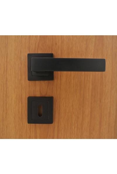 Azm Hırdavat Zigana Mat Siyah Rozetli Kapı Kolu Wc