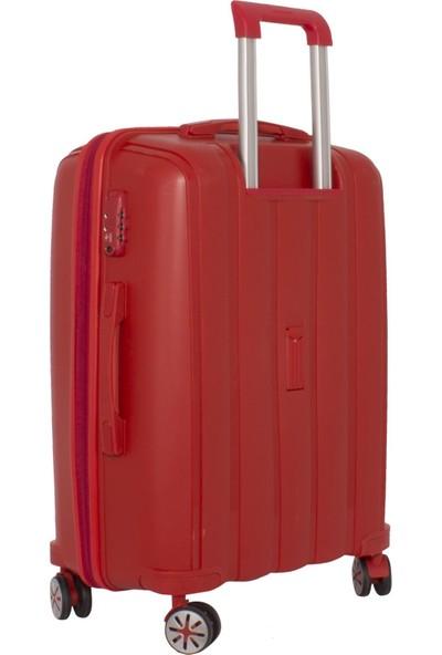 Mçs Lüx Kırılmaz Kırmızı Orta Boy Pp Valiz - V305