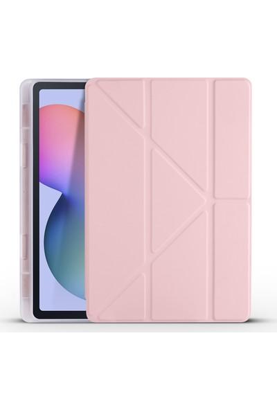 Happyshop Samsung Galaxy Tab S6 Lite P610 Için Kalemlikli Standlı Arkası Silikon Trifolding Kılıf Pembe