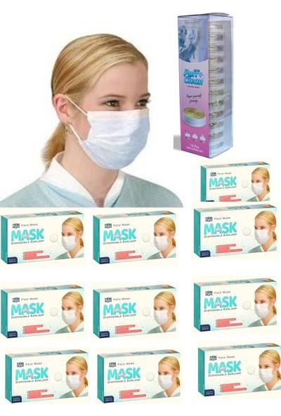 Pufai Full Ultrasonik Cerrahi Maske 3 Katlı Burun Telli 250 Adet 10 Kutu + Hijyenik Mendil