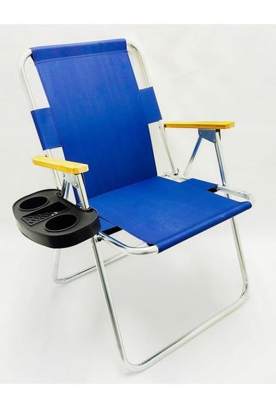 Hastunç Ahşap Kolçaklı Katlanır Kamp Plaj Bahçe Sandalyesi