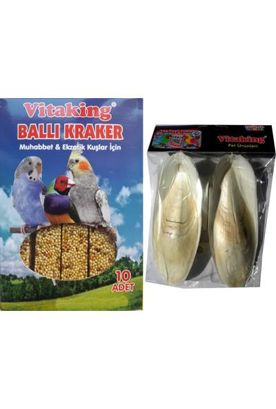 Vitaking 10LU Box Muhabbet Ballı Kraker + Mürekkep Balığı Kalamar Kemiği 30G