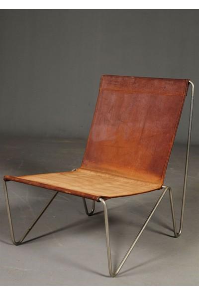 Sohomanje Gerçek Deri Metal Sandalye Berjer