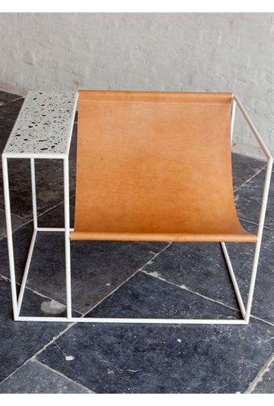 Sohomanje Gerçek Deri Sehpalı Küp Sandalye