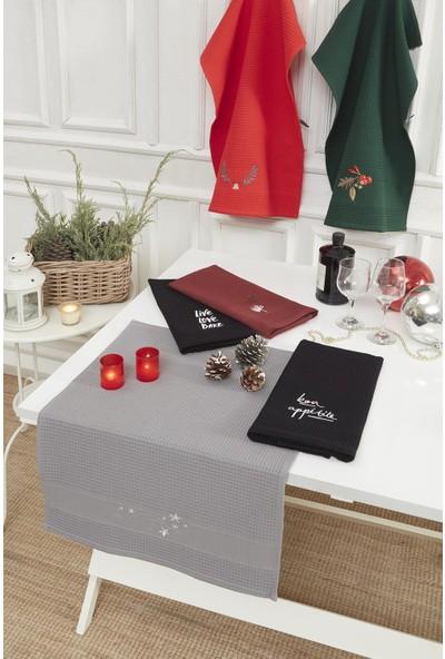 Upline 2'li Tea Towel Yıldız Nakışlı Bordo & Gri 50 x 70 cm Kurulama Bezi Seti