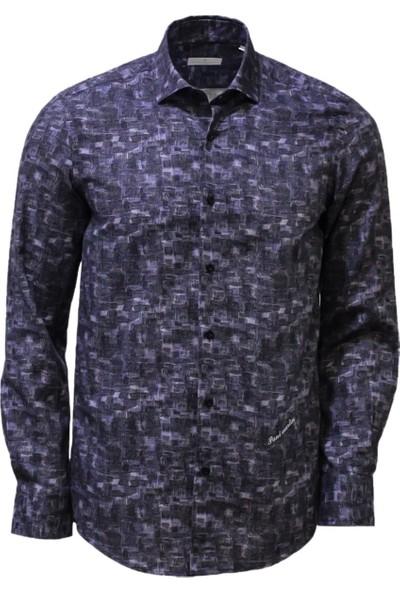 Paul Martın Erkek Lacivert Desenli Gömlek