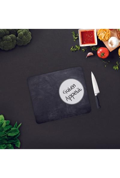 Decorita | Guten Appetit | Karatahta Görünümlü | Cam Kesme Tahtası - Cam Kesim Tablası 29cm x 34cm