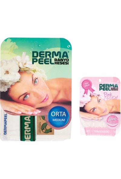 Dermapeel Orta Banyo Kesesi + Pink Touch Yüz Kesesi Set