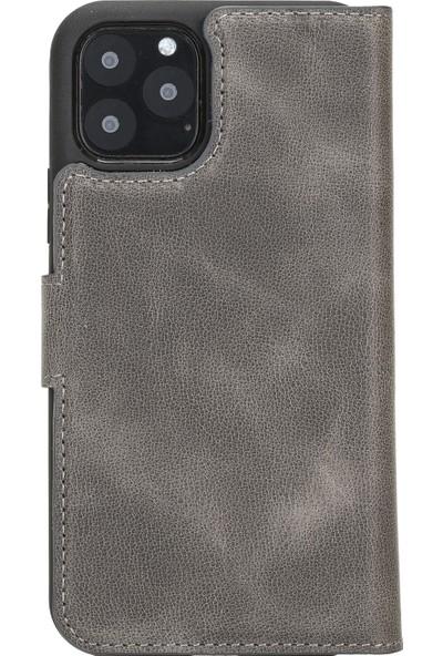 Burkley Mw Deri Telefon Kılıfı Apple iPhone 11 Pro Vs4 Rfıd Özellikli Gri