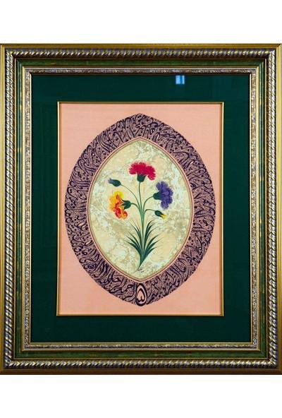 Bedesten Pazar Islami Tablo 54x68 cm Canvas Basım Hat Sanatı Dekoratif Çerçeveli ''ayetel Kürsi Divani ''