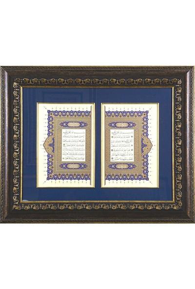 Bedesten Pazar Islami Tablo 58x68 cm Tıpkı Basım Hat Sanatı Çerçeveli ''fatiha ve Elif Lam Mim '' Serlevha